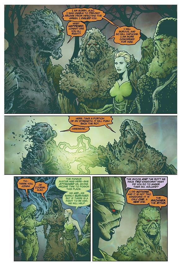 Avatares del Verde en las páginas de Swamp Thing #40 por Jesús Saiz
