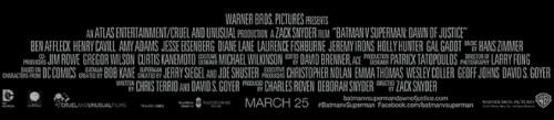 Los créditos de Batman v Superman: Dawn of Justice