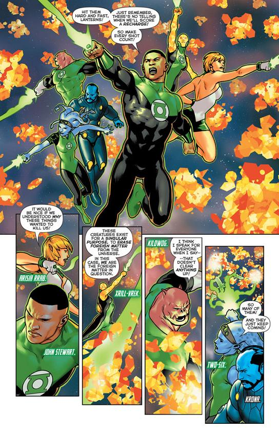 La alineación principal de Green Lanterns. A ellos se les sumará Guy Gardner.