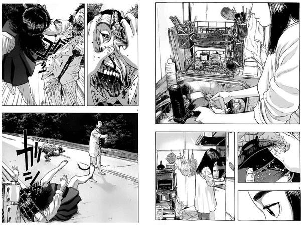 Montaje con dos de las páginas del sexto tomo donde podemos observar como las manos de Hiromi realizan la misma acción sobre la cara del ZQN y el bol. La mandíbula se sitúa en la misma posición que la esponja.