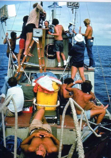 Una imagen que explica lo complicado del rodaje de Tiburón