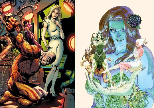 Metamorpho y Posion Ivy a cargo de Aaron Lopresti y Amy Chu respectivamente