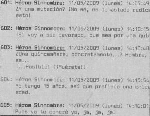 Extracto del chat Héroes Sinnombre.