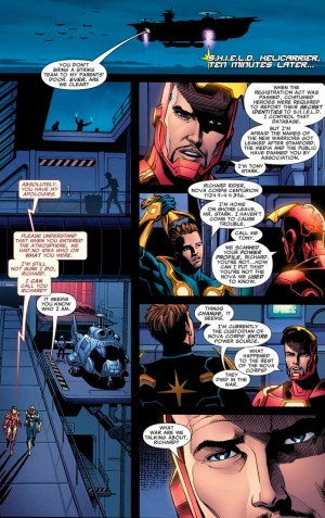 Tony Stark intentando reclutar a Nova para su causa
