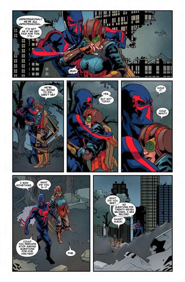 Miguel y Lady Spider luchando por su vida en 2099