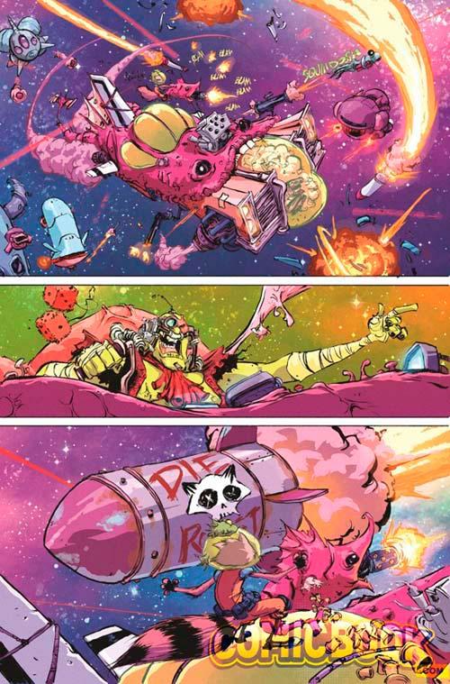 Ejemplo del trazo y el estilo de Skottie Young en las aventuras espaciales de Mapache Cohete