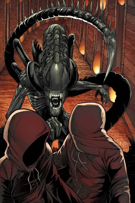 La primera aparición de un xenomorfo en la miniserie