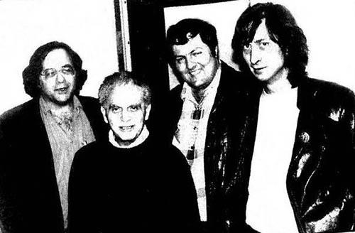 Steve Gerber, Jack Kirby, Mark Evanier y Frank Miller en 1986