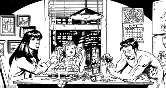 Entrañable escena familiar, cortesía de Adam Kubert