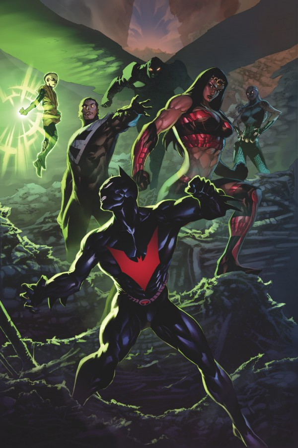 Portadón para presentarnos a la Justice League Beyond en este NUDC