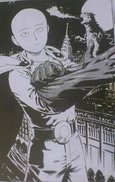 Saitama preparándose para derrotar ese primo lejano de Godzilla...