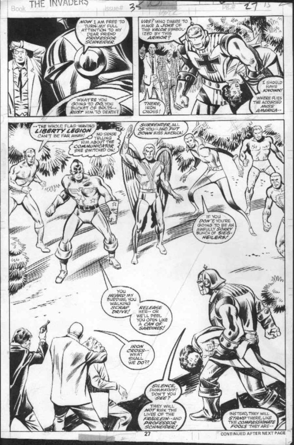 Iron Cross vs the Liberty Legion. Lápiz y tinta de Don Heck