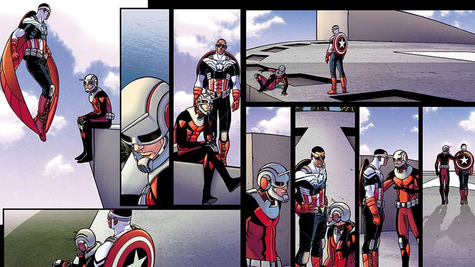 Visitas especiales en la nueva Astonishing Ant-Man. Por ejemplo, tenemos una aventura con Sam Wilson en este tomo