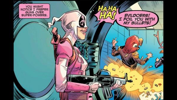 Uno de los poderes de Gwenpool: El fusil de asalto