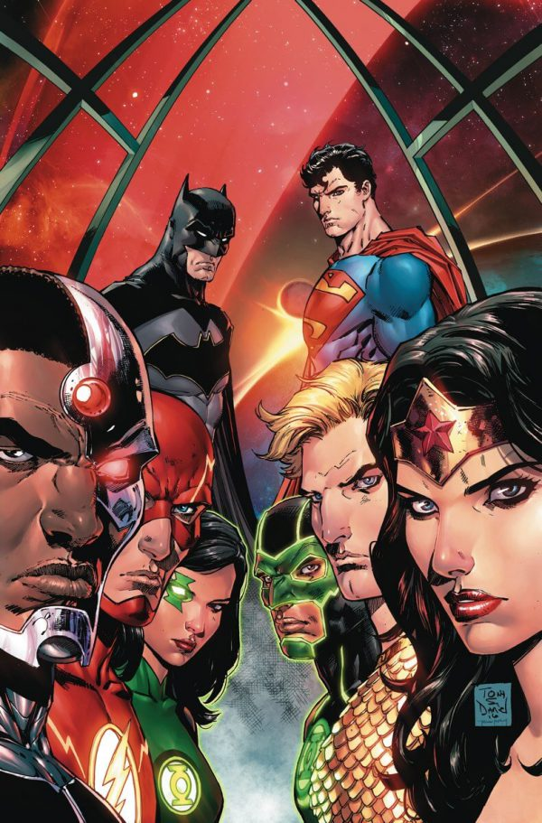 Portada de Justice League Rebirth #1, obra de Bryan Hitch