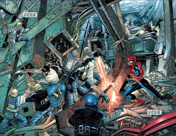 Spiderman ayudando codo con codo a los auténticos héroes del 11S y la página de la polémita del Dr. Muerte.
