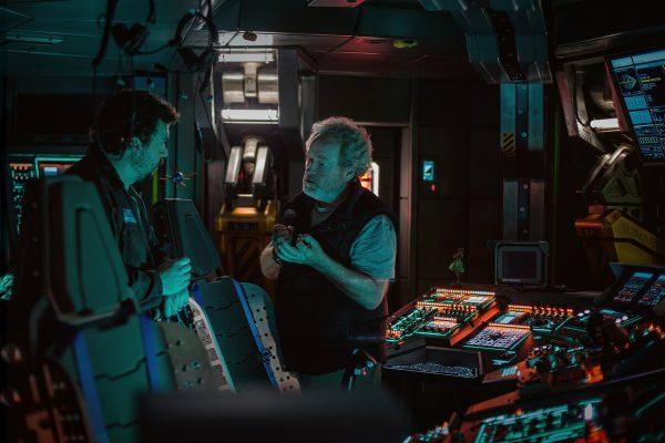 Danny McBride y Ridley Scott en el rodaje de Alien: Covenant