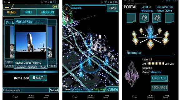 Capturas de pantalla de Ingress, un juego de realidad aumentada en el que compites por controlar una nueva fuente de energía