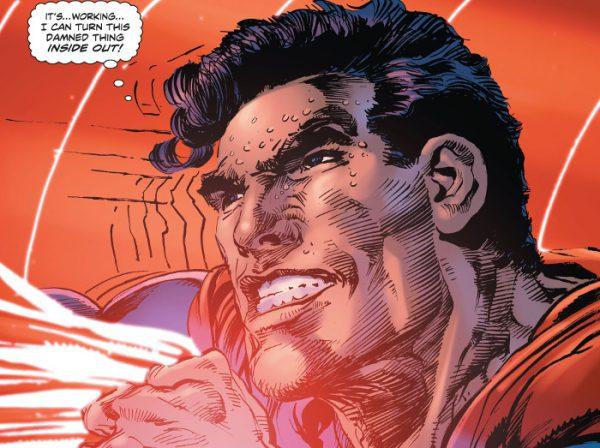 """""""Esta funcionando... Le estoy dando la vuelta a esta maldita cosa de dentro a fuera"""" Superman, ¡la que vas liar!"""