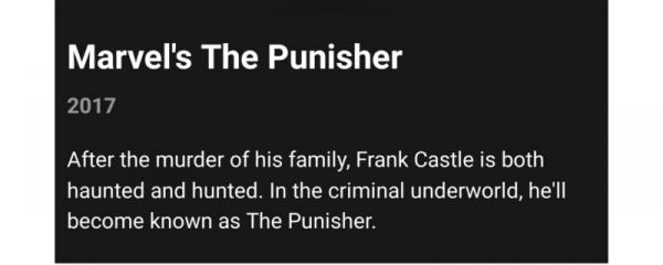 Anuncio filtrado de The Punisher en la app de Netflix