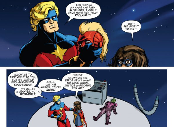 - Permíteme  que te lo explique, porque es simple hasta para las de tu género. Se llama 'manto', no 'womanto'.  - Capitán Marvel ¡tienes razón! Me has enseñado la verdad, y a partir de ahora no haré más SJW.