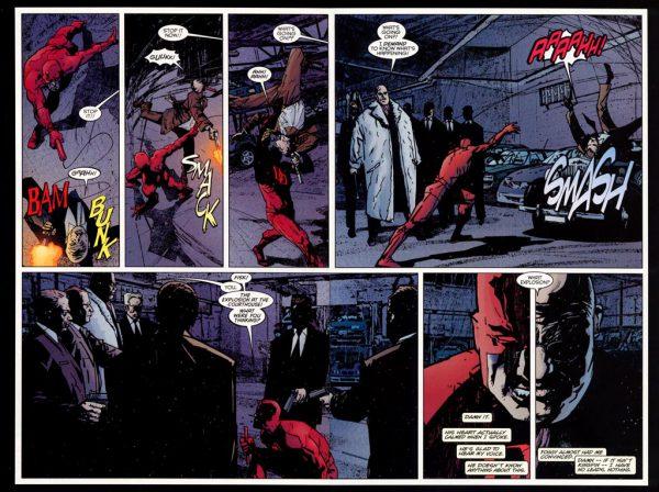 Daredevil y Kingping, mucho más que enemigos. Arte de Alex Maleev.