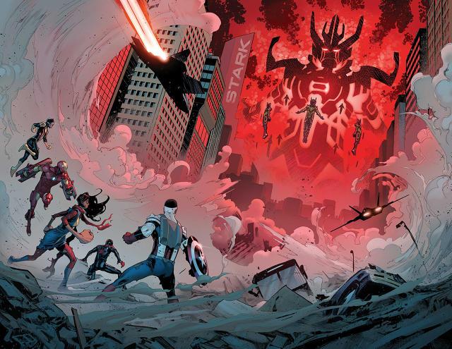 Los héroes lo tienen muy difícil cuando se enfrentan a un Celestial, una espectacular página de David Marquez