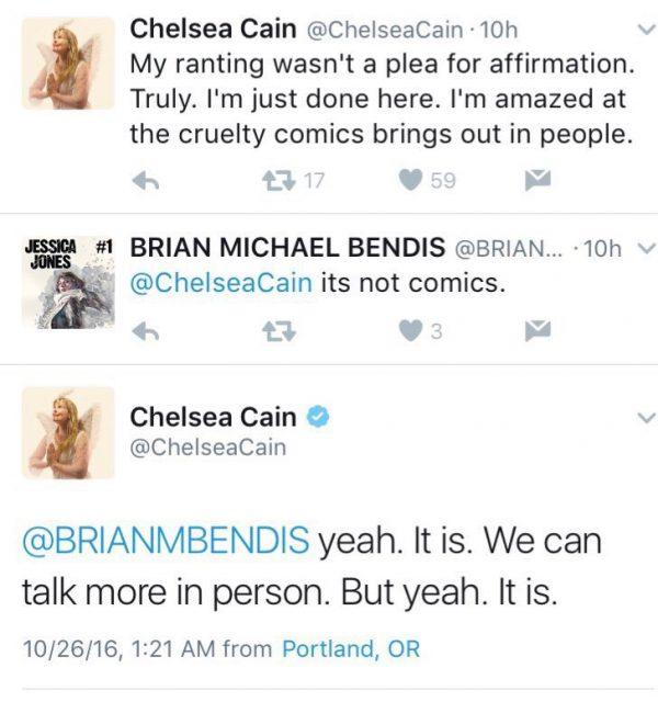 Tuits entre Cain y Bendis