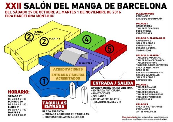 Mapa Saló Manga Barcelona 2016