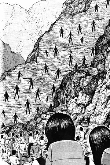 Página del relato «El misterio de la falla Amigara», uno de los favoritos de Junji Ito