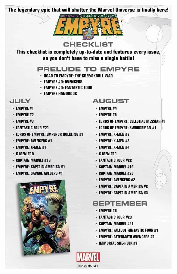 Marvel Empyre Checklist