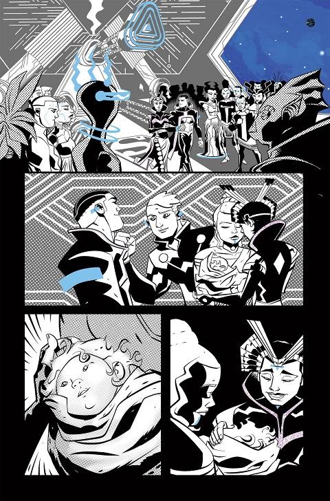 Página en tinta de Michael Avon Oeming para World of Krypton